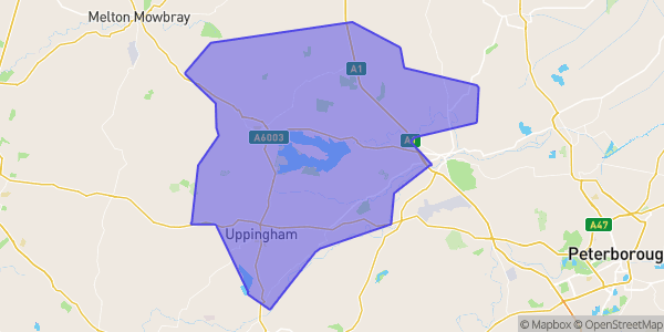 Map of Rutland and the surrounding area, with a purple overlay marking Rutland specifically